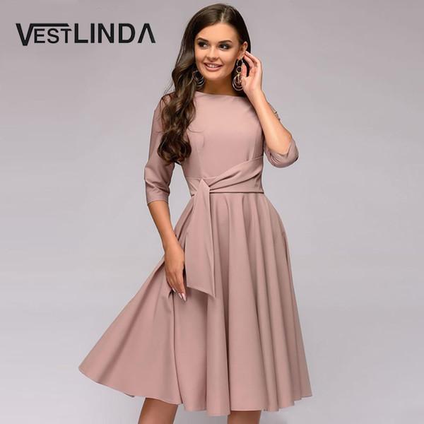 Compre Vestlinda Mulheres Vestidos 2019 Sólidos A Linha Vestido Elegante Escritório Magro Vestido De Festa Dia Dos Namorados De Cozywine 2477
