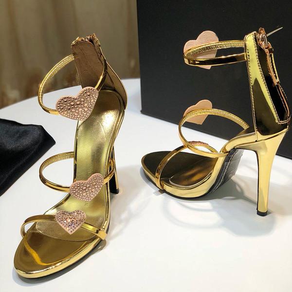 2019 Yeni moda ayakkabı kadın tasarımcı yüksek topuk sandalet deri malzeme orijinal topuk yüksekliği 12.5 cm boyutu 35-42