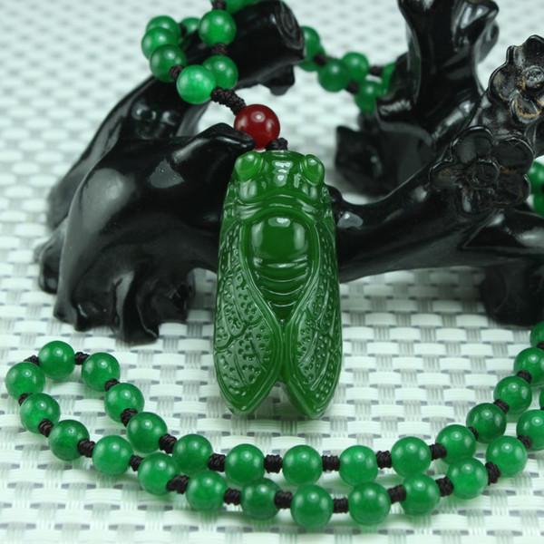 Vert Jade Cigale Pendentif