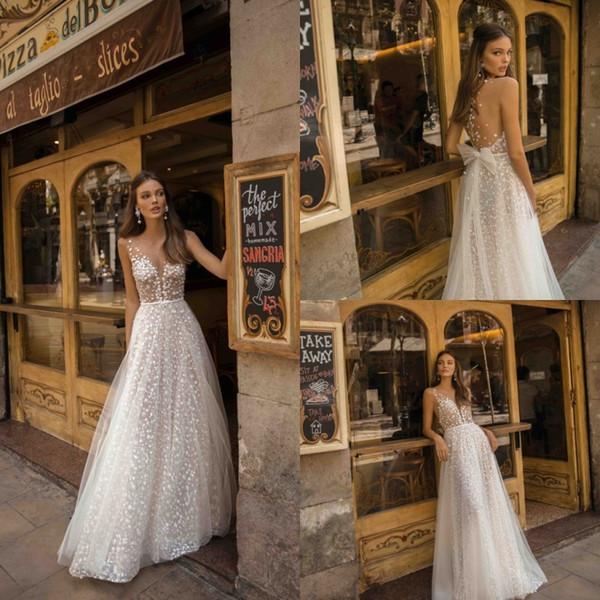 Berta 2019 Charming Brautkleider Spitze Applizierte Perlen Illusion V-Ausschnitt Sexy Brautkleider Braut Boho Tüll Nach Maß Vestidos De Novia