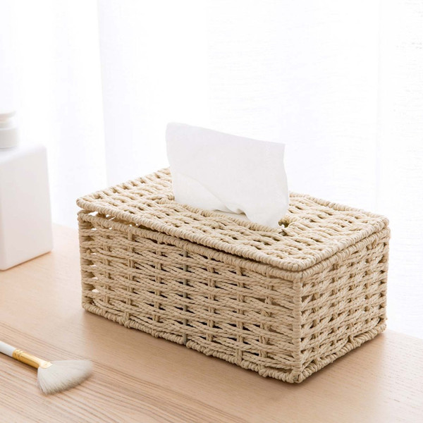 Simple Paper Rope Weaving Tissue Box Creative Desktop Napkin Holder Case Home Organizer Decoration Tools