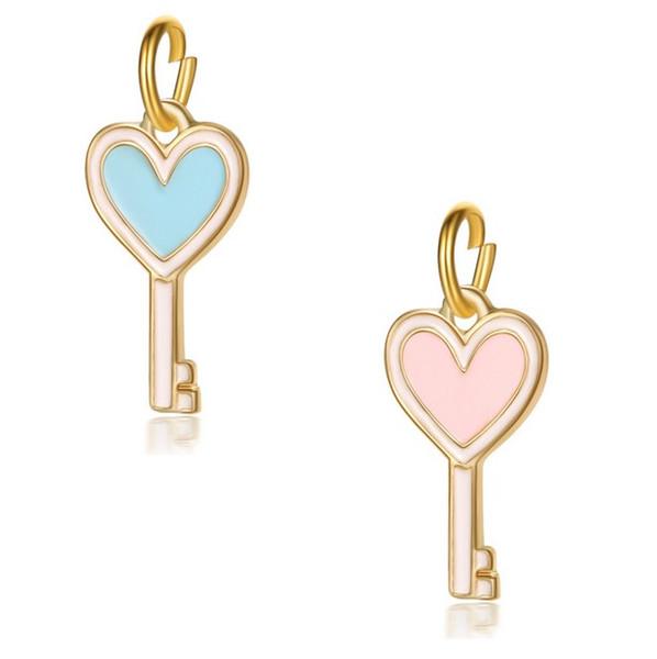 Fits Pandora Sterling Silver Bracelet Heart Key Enamel Dangle Pendant Beads Charms For European Snake Charm Fashion DIY Jewelry Wholesale