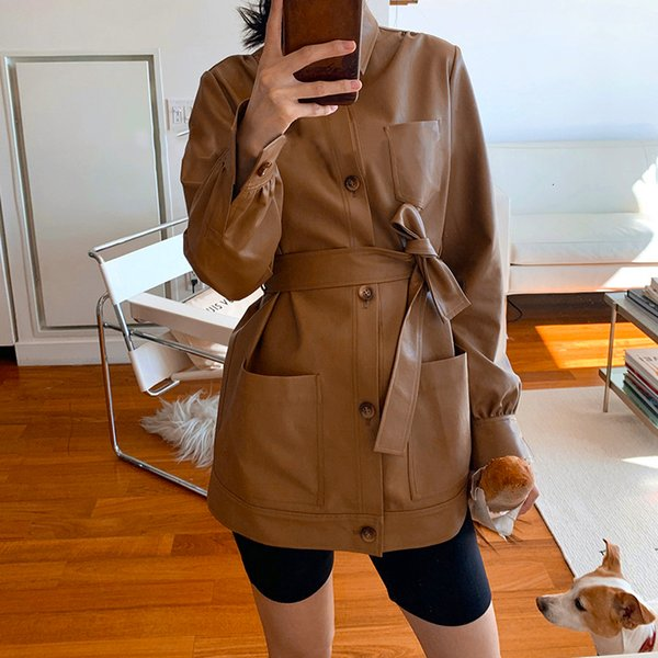 Casual Women Long Leather Coat Casual Ladies PU Leather Motor Jacket Vintage Female Faux Leather Trench for Autumn Winter T190907