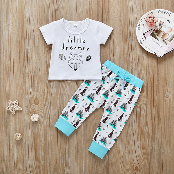 Baby Letter Fox Print T-Shirt+Pants Outfits Summer 19 Kids Boutique Clothing Newborn Infant Short Sleeves Tops Long Pants 2 PC Set