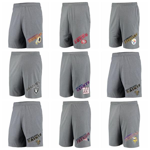 Nuevo 2020 Venta caliente Hombres Vikingos Patriotas Santos Gigantes Jets Raiders Conceptos Sport Tactic Lounge Shorts-Heathered Grey
