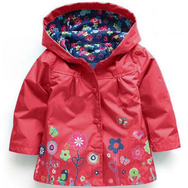 Giacca Nuova bambino neonate Fiori Vento Pioggia con cappuccio a maniche lunghe frangivento bambini floreale impermeabile cappotto ourwear Tops 909.162