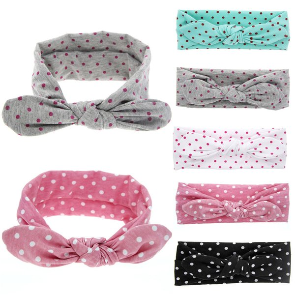 New Baby Cute Soft Rabbit Ears Elastic Wave Point Bowknot hairs Headband baby girls Hair Accessories high quality hair tool