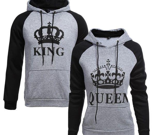 Мужские и женские письма король королева балахон пара свитер моды случайных спортивной куртки уличной куртки
