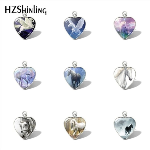 New Horse In Fog Heart Pendant Running Horse Pendants Glass Dome Jewelry Car Ladies Wallet Charms