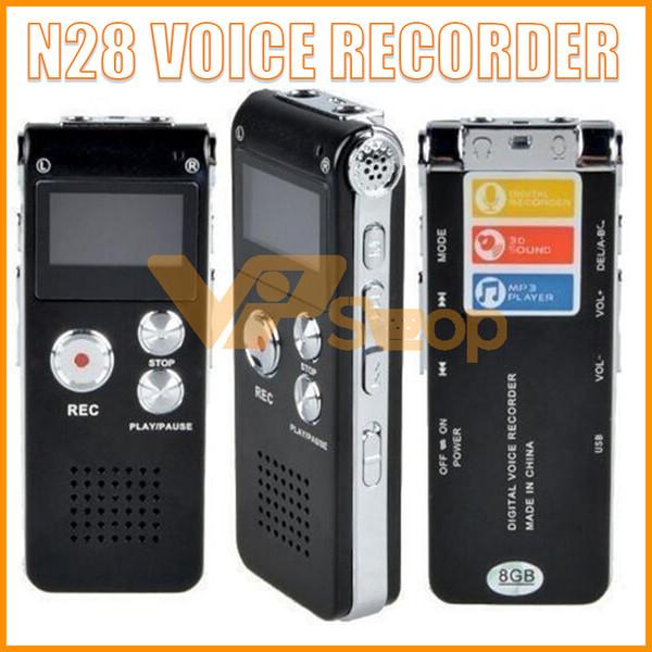 N28 Ricaricabile 4 GB 8 GB Mini USB Flash Digital Audio Audio Registratore vocale con lettore MP3 650Hr Dittafono Telefono