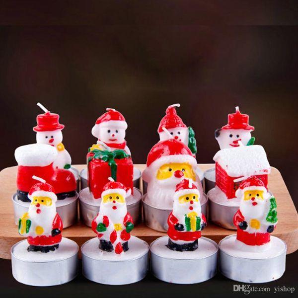 3 pz / set candele di natale santa casa snowm a forma di candele di cera profumata capodanno festa di nozze candela decorazioni per la casa luce regalo di natale