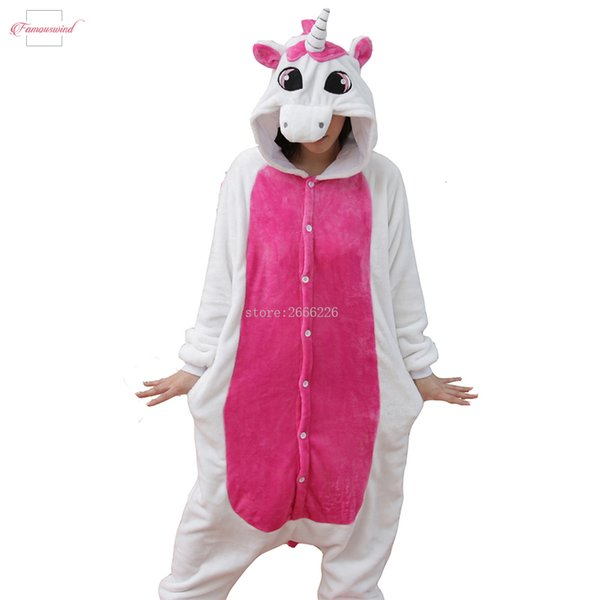 Unicornio de vestuario Pijamas Conjuntos Pijamas kits adultos animales Invierno franela de las mujeres de Cosplay Pijamas Unicornio Bodies manga larga