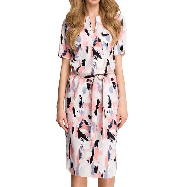687ed338022 Новое Летнее Платье Женская Мода Цветочный Принт Пляж Сарафан Повседневная  С Коротким Рукавом Платье С Поясами