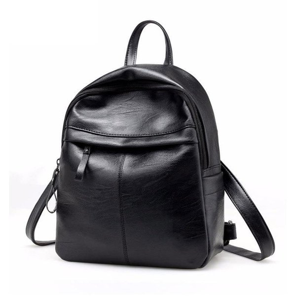 2019 High Quality Pu Leather Women Backpack Fashion Solid School Bags For Teenager Girls Casual Black Laptop Shoulder