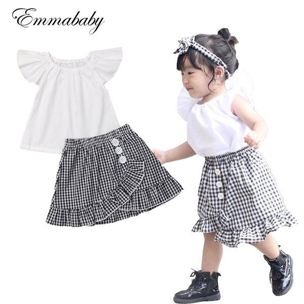 Emmababy 2019 Çocuklar Bebek Bebek Kız Sinek Kol Beyaz T-shirt Elbise + Siyah Ekose Etek Kıyafet Seti Elbise 6 M-4 T
