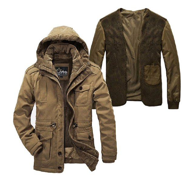 Two Pieces Winter jacket men plus size super warm thickening wool liner parka men brand clothing AFS JEEP parka Winter coat men MX191119