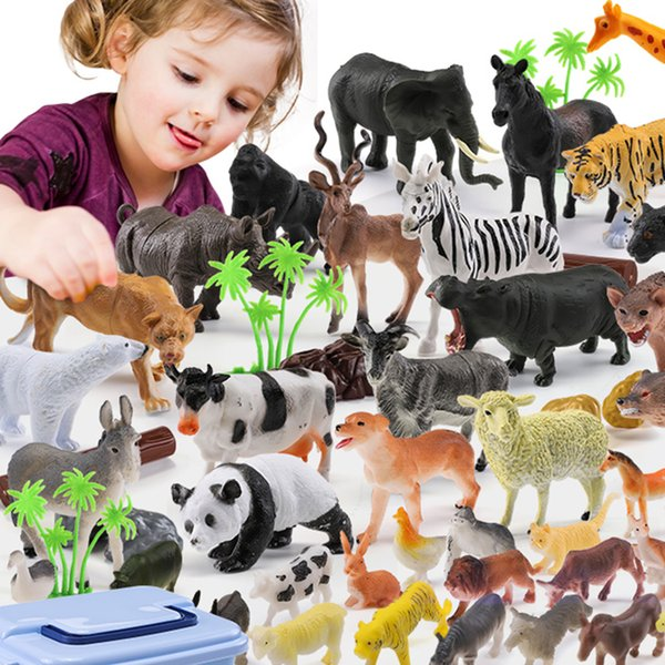 44pcs Genuine Wild Jungle Zoo Farm Animal Series Jaguar Collectible Model Kids Toy Children Early Learning Cognitive Toys Gifts Y190604