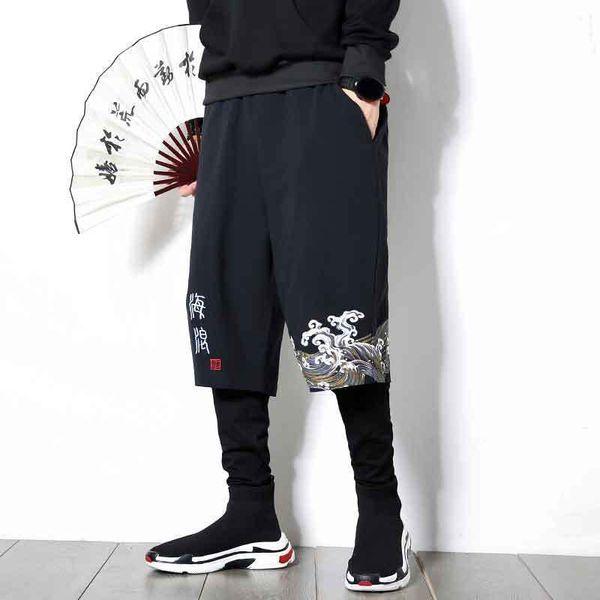MRDONOO Autumn Chinese style men's large size linen pants sports hip hop casual pants loose printed harem pants tide K806 Y19060601