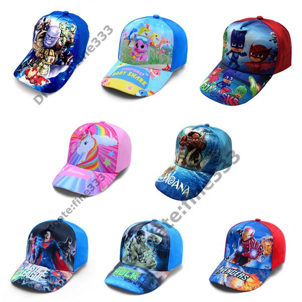 top popular Kids Caps 72 design Trolls Hats Caps Children Baseball Caps Boys girls Cartoon Princess Sun Hats 2020