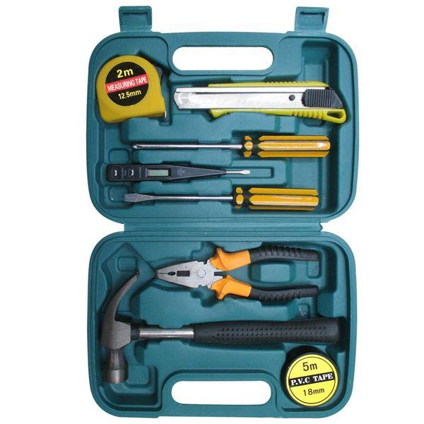 Juego de herramientas de reparación para el hogar, kit de herramientas de transporte de mano básico profesional de 9 piezas.