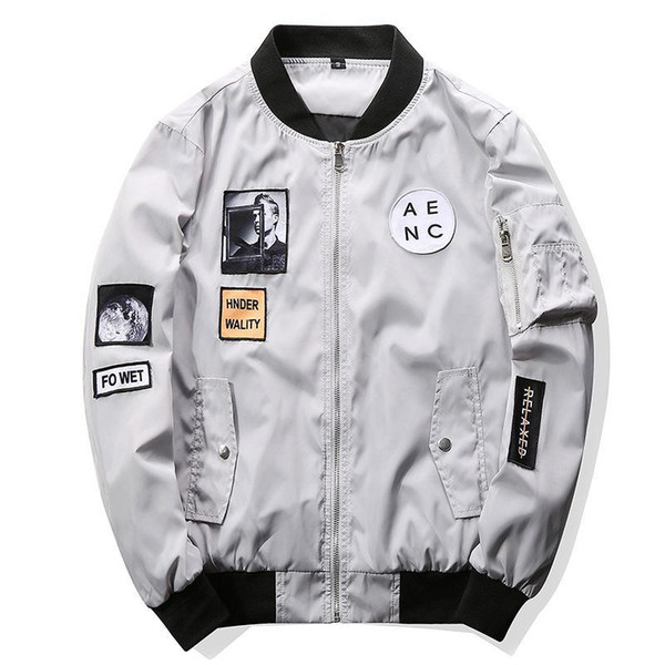 Spring Men Bomber Jacket Hip Hop Patch Designs Slim Fit Pilot Bomber Jacket Coat Men Jackets Black White Plus Size M-4XL