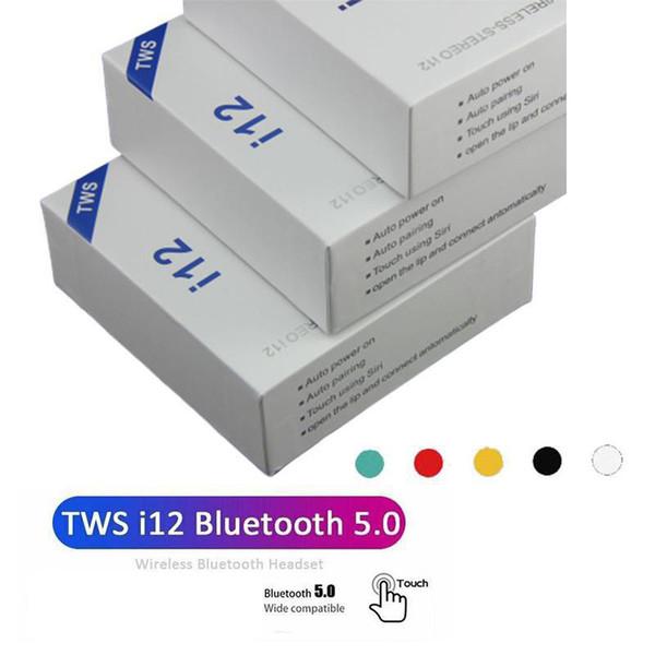 I12 TWS Bluetooth 5.0 cuffie bluetooth wireless supportano auricolari di controllo touch colorato auricolari auricolare senza fili di vendita calda