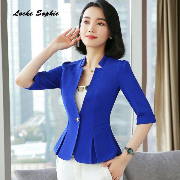 1pcs Women's Blazers coats 2019 Summer cotton blend Splicing V-neck Small Suits jackets ladies Skinny Blazers Suits coats Girls