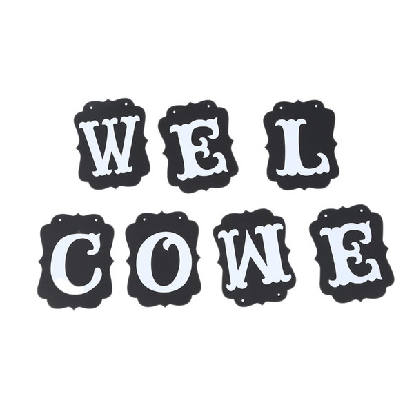 WELCOME Vintage Party Banner Wedding birthday Bunting House home Classroom Decorations Garland photo Booth Props Back To Schoo