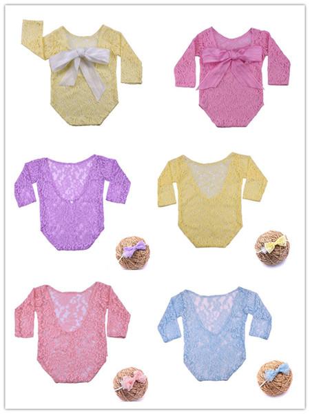 Yeni doğan uzun kollu dantel romer şerit ilmek onesie bebek fotoğraf sahne giyim