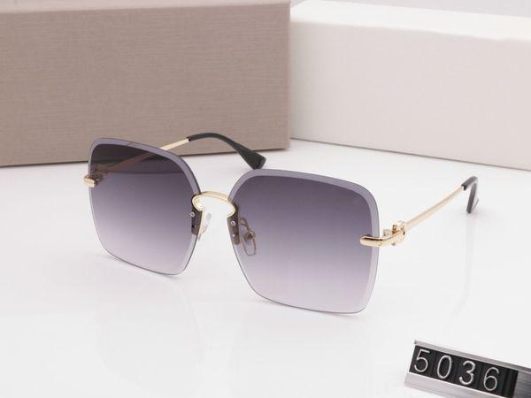 Luxury 5036 Designer Sunglasses For Women Fashion Sunglasses Wrap Sunglass Frameless Coating Mirror Lens Carbon Fiber Legs Summer Style