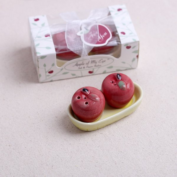 Wedding Favors Gifts Red Apple Salt & Pepper Shakers Ceramic Seasoning Cans Kitchen Supplies 2pcs/set + DHL Free Shipping