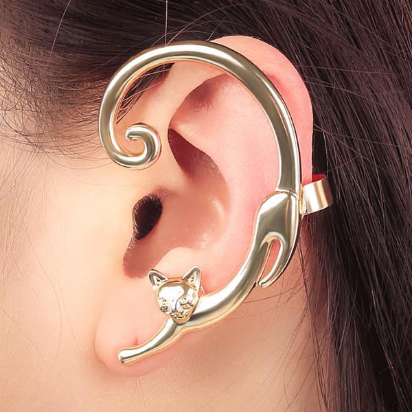 Fashion 1pc Punk Style Gold Silver Plated Cat Post Earring With Ear Cuff Rock Animal Black Earring Women Ear Wrap