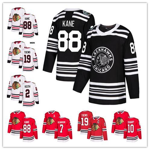 Chicago blackhawk 88 patrick kane 19 jonathan toew 2 keith 7 brent eabrook 12 debrincat 50 crawford 10 patrick harp hockey jer ey, Black;red