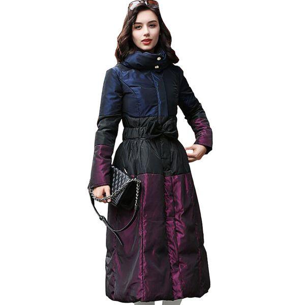 2018 Mujeres de Invierno Cálido Abajo Cubrir Elegante Púrpura Cintura Arco Moda Femenina Largo Delgado Blanco pato abajo Chaquetas Femme Parka p712
