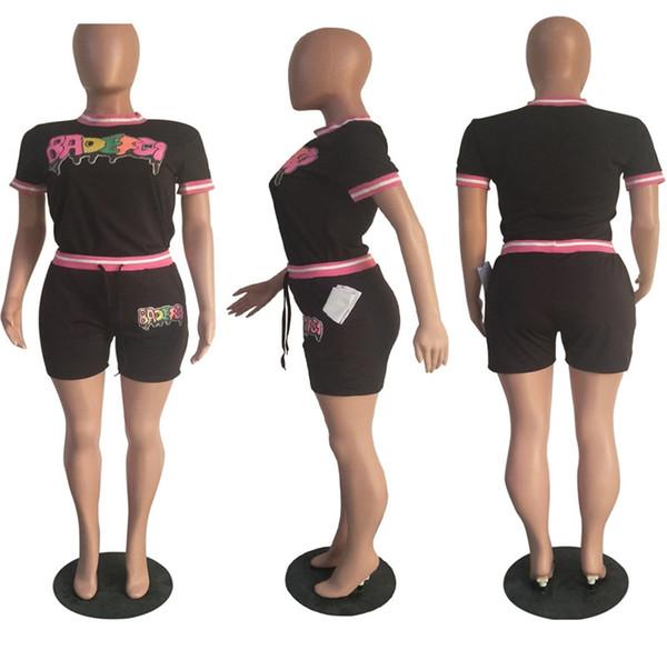 Women Tracksuit BADEFGI Letter Fashion Paillette Summer Short T-shirt + Shorts Sportwear Two Pieces Outfit Women Clothes S-XXL 3Color C5801
