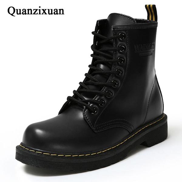Bottines à la mode Bottes d'hiver en cuir PU Femmes Chaussures de travail Toe Lace-Up Femmes Chaussures Noir Femme