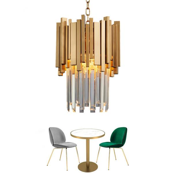 Araña de oro que ilumina el comedor de una sola luz Lámpara de cristal LED Lámpara moderna Isla de la cocina Colgante Cadena Cristal Lustre