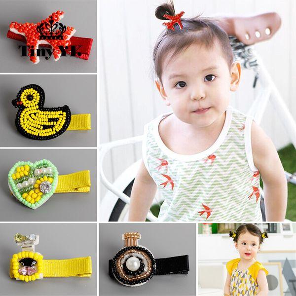 New Beads Full Cover Hair Clip Barrettes Duck Children Hair Accessories Pearl Hairpins Baby Hair Clips
