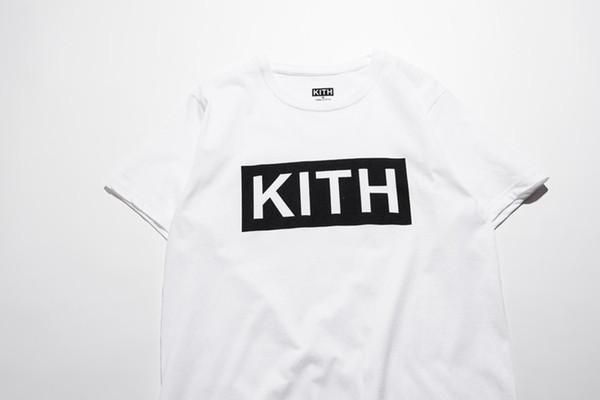 Abbigliamento uomo Estate Magliette uomo KITH Lettere di moda T-shirt stampata Cool Maniche corte Girocollo T-shirt Uomo Donna Bianco Nero Top