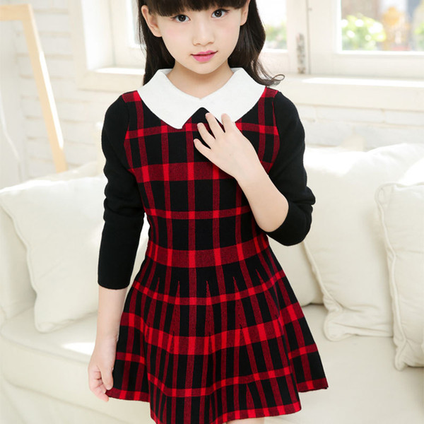 Spring Autumn Girl Dress Teenage Plaid Party Dresses Knitted Cotton Kids Girls Clothes Children CLothing Girl Dress Girls Clothes Children CLothing Girl Dress