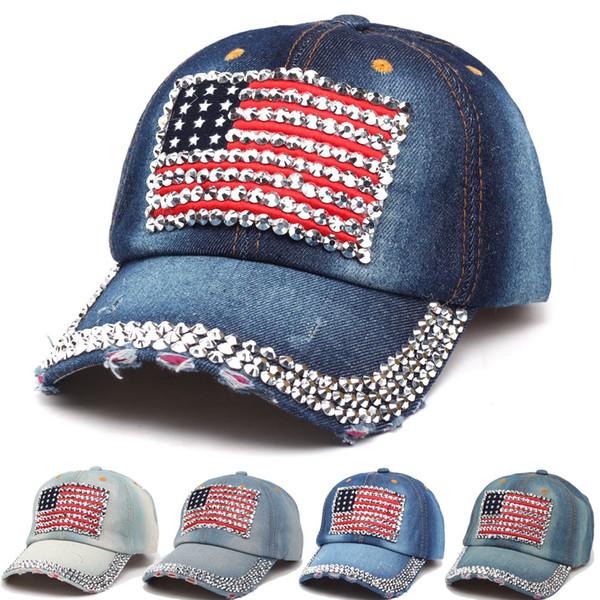 Fashion American Flag Baseball Cap Men Sport Rhinestone Jeans Ball Cap Women Travel Bling Snapback Denim Sun Hat TTA1114