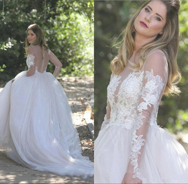 Sexy See Through Long Sleeves Bride Dresses A Line High Quality Tulle Floor Length Lace Appliques Sheer Neck Country Wedding Dresses