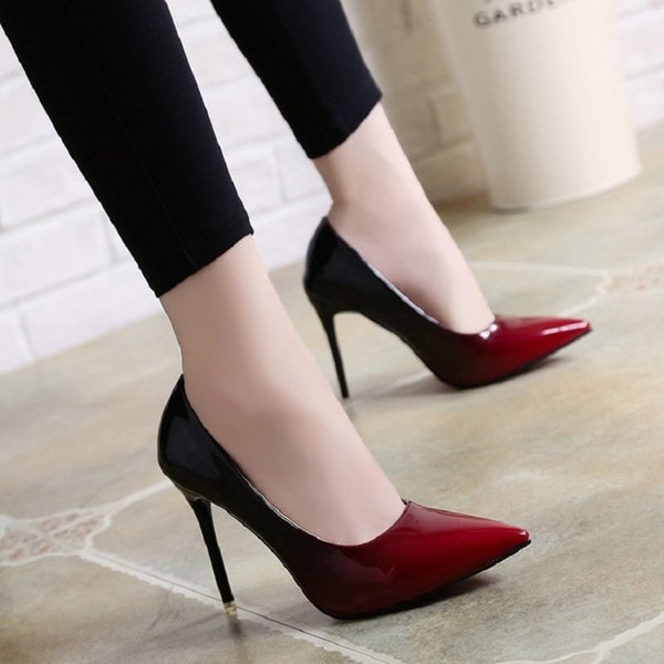 Dress Shoes 2019 Spring And Summer New Europe And America 10cm High-heeled Shallow Mouth Color Matching Pointed Sexy Nightclub High Heels.