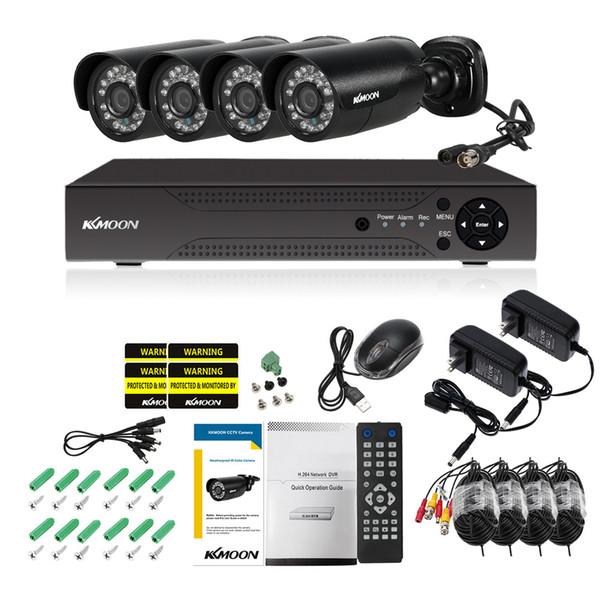 KKmoon 4CH 1080P Hybrid Digital Video Recorder + 4*720P AHD Waterproof IR CCTV Camera + 4*60ft Surveillance Cable CCTV System