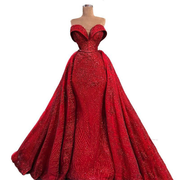Abito da sera arabo lungo di luccicanti rossi 2019 con gonne staccabili per abiti da festa di Robe De Soiree