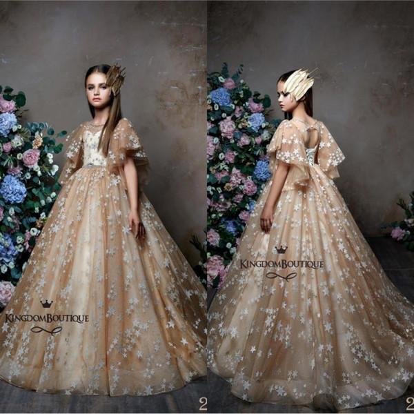 Princesse De Luxe Fleur Fille Robes Sans Manches Une Ligne Paillettes Étoiles Équipé De Longues Filles Pageant Robe Puffy Première Communion