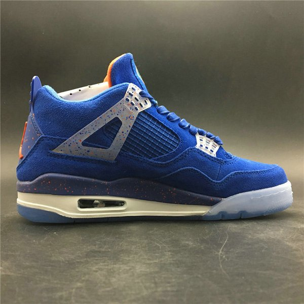 2019 new 4 retro motorsport sapphire blue men basketball shoes high quality 4s IV blue suede mens sports sneakers