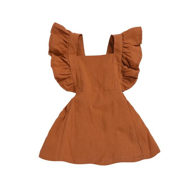 Newest INS Little Girls Dresses Ruffles Sleeveless Square Collar A-line Blank Organic Cotton Summer Autumn Children Girls Dresses 1-5T