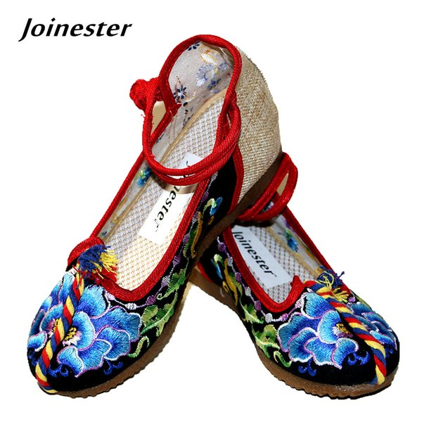 Designer Dress Shoes Women's Button Strap Floral Embroidered Canvas Casual Shoe Internal Height Increase Round Toe Ethnic Pumps Rubber Sole