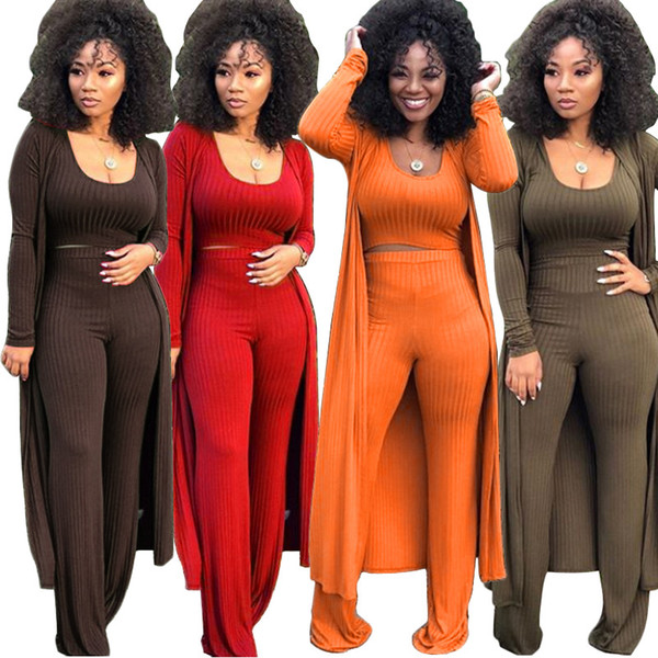 Solid Knitted Stylish 3 Piece Outfit Women Tank Crop Top And High Waist Straight Pants And Full Sleeve Maxi Long Cardigan